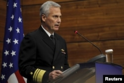 FILE - Vice Admiral James Syring, director of the U.S. Missile Defense Agency, delivers a speech in Bucharest, Romania, Dec. 18, 2015.