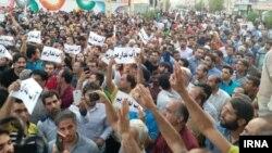 تصویری از تجمع قبلی مردم برازجان در اعتراض به قطع آب
