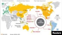 រូបឯកសារ៖ ផែនទីបង្ហាញប្រទេសជាសមាជិកនៃកិច្ចព្រមព្រៀងពាណិជ្ជកម្មដៃគូឆ្លងមហាសមុទ្រប៉ាស៊ីហ្វិក TPP និងប្រទេសដទៃទៀតដែលជាសមាជិកនៃកិច្ចព្រមព្រៀងពាណិជ្ជកម្មសាកល។