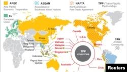 跨太平洋貿易夥伴關係協議達成的12個國家。
