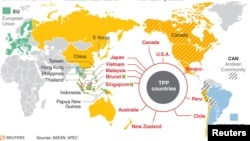 The 12 countries in the Trans-Pacific Partnership