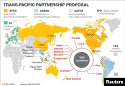 ພາບແຜນທີ່ ບັນດາປະເທດ ທີ່ເຂົ້າຮ່ວມ TPP ແລະ ຂໍ້ຕົກລົງການຄ້າອື່ນໆຂອງໂລກ