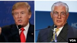 Donald Trump, left, and Rex Tillerson are shown in this composite image.