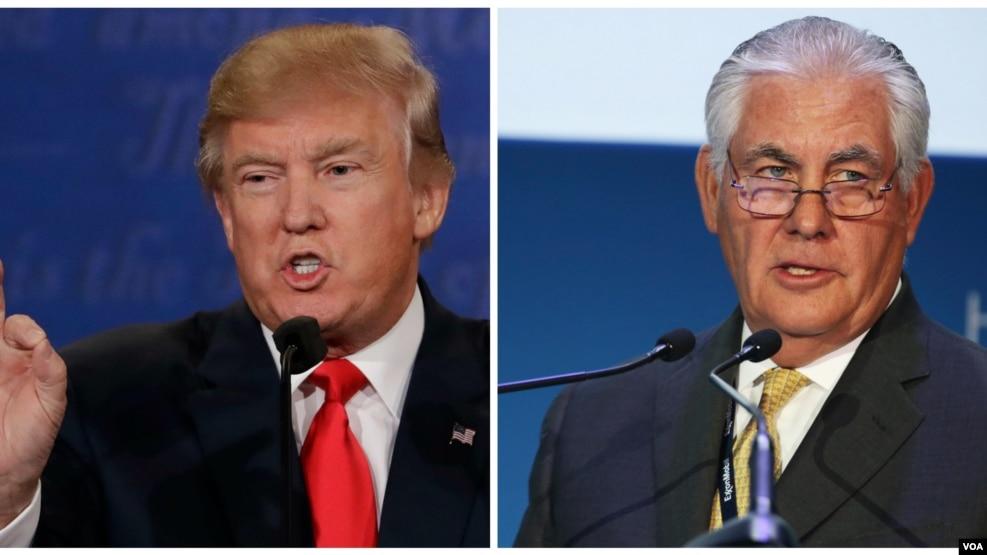 Tổng thống đắc cử Donald Trump, trái, và Ngoại trưởng đề cử Rex Tillerson.