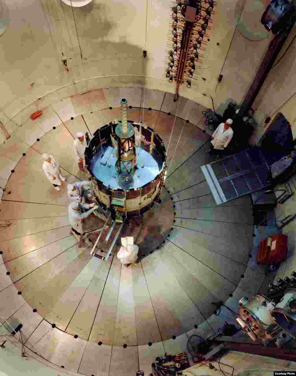 ISEE-3 in the test chamber at Cape Canaveral, Florida where the craft was launched in 1978. (Ed Grebenstein)