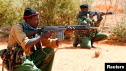 케냐 경찰들이 소말리아 국경 지역에서 경계근무를 서고 있다. (자료사진)