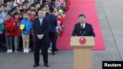 中國國家主席習近平2019年12月18日抵達澳門國際機場後發表講話。