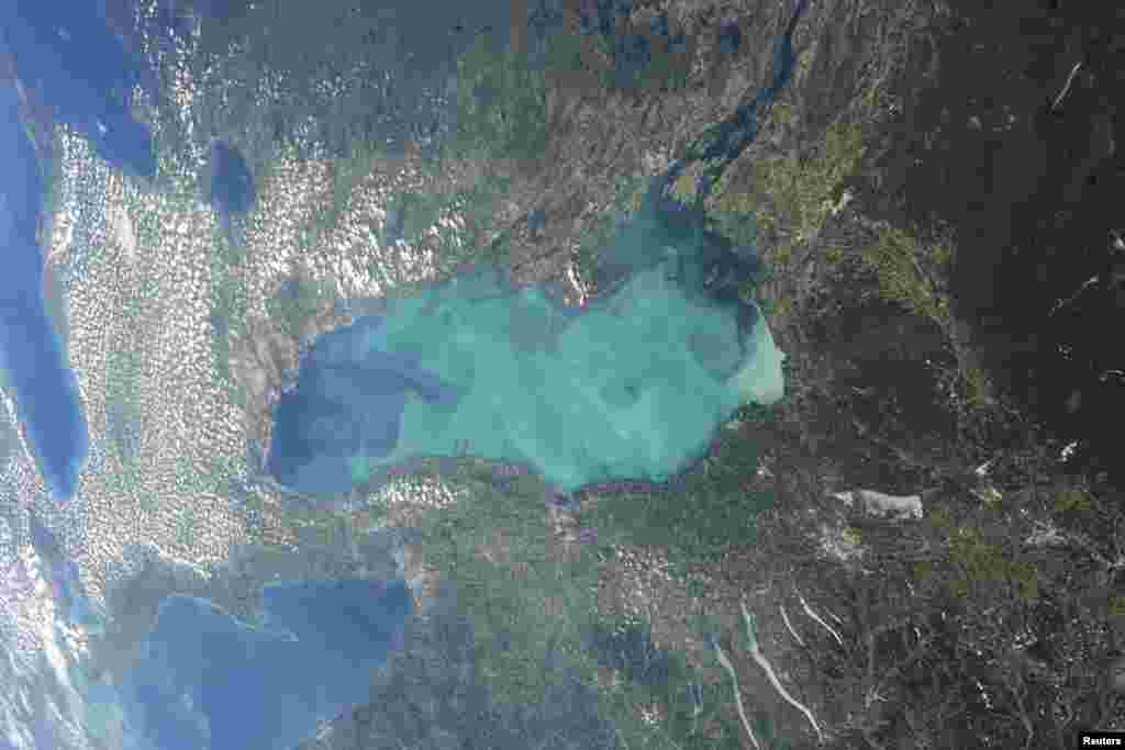 Late summer plankton blooms across much of Lake Ontario, one of North America's Great Lakes, in this photograph taken by an astronaut on the International Space Station. Microscopic cyanobacteria, or blue-green algae, can reach such large concentrations and color the water to such an extent that the change is visible from orbit. (Courtesy of NASA)