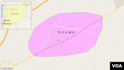 Peta wilayah Douma, Suriah.