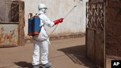 Un trabajador de la salud aplica desinfectante en una mezquita en Mali. La OPS impartirá un taller para el manejo de casos de ébola en Latinoamérica.