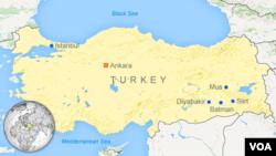 出現衝突的土耳其城市 - 藍色圓點所示