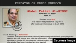 """Egypt's President Abdel-Fattah el-Sissi, Turkish President Erdogan, Saudi Arabia's King Salman, and the so-called Islamic State Terror Group are on the list of """"Predators of Press Freedom"""" released by Reporters without Borders to mark the International Day to End Impunity for Crimes against Journalists Wednesday, Nov. 2, 2016."""
