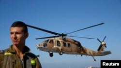 Trực thăng Israel chở 2 binh sĩ Israel bị thương đến bệnh viện ở phía bắc thành phố Haifa, ngày 7/10/2014.