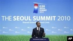 سهرۆک ئۆباما له میانهی کۆنگرهیهکی ڕۆژنامهوانیدا له کۆبوونهوهی لوتکهیی G20 له سیۆلی پایتهختی کۆریای باشور دهدوێت، ههینی 12 ی یازدهی 2010