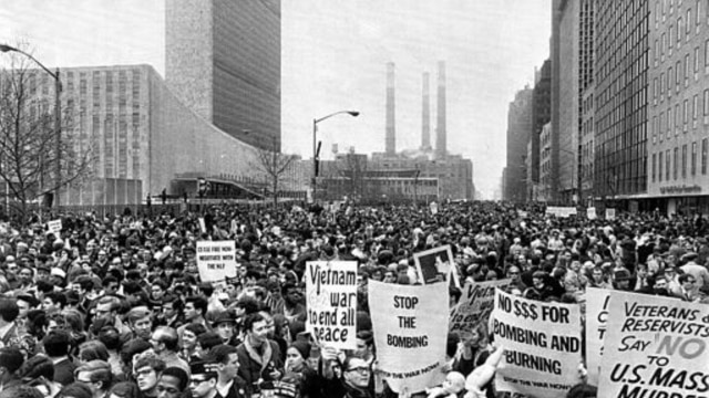 Thousands gather at United Nations Plaza in New York City on April 15, 1967, for a peaceful demonstration against America's involvement in the Vietnam War