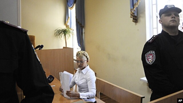 Former Ukrainian Prime Minister Yulia Tymoshenko during a trial hearing at the Pecherskiy District Court in Kiev, July 15, 2011