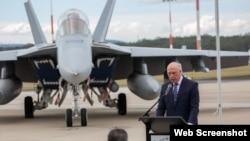 澳大利亚国防部长达顿2021年7月14日在美澳护身军刀2021联合军演开幕式上讲话。(照片来自澳大利亚国防部推特)