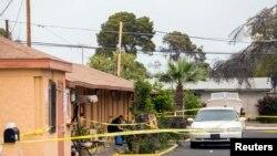 El primer tiroteo se produjo en la habitación de un motel en Mesa, Arizona en el que falleció una de las víctimas.