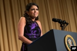 Comedian Cecily Strong delivers remarks the White House Correspondents' Association dinner at the Washington Hilton, Washington, D.C., April 25, 2015.