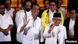 Pasangan Capres Joko Widodo dan Cawapres Ma'ruf Amin bersama koalisi pendukungnya di Jakarta (17/4).