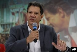 Fernando Haddad, presidential candidate for the Workers' Party, speaks to foreign journalists in Sao Paulo, Brazil, Oct. 18, 2018. Haddad will face Jair Bolsonaro in a presidential runoff Oct. 28.