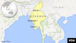 Peta lokasi Myanmar.