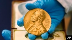 노벨상 각 분야 수상자들에게 상금, 상장과 함께 전달되는 금메달.