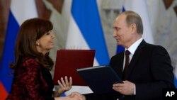 Владимир Путин и Кристина Фернандес де Киршнер. Москва, 23 апреля 2015.