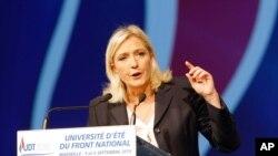 Liderka Nacionalnog fronta Marin Le Pen tokom govora u Marseju, 6 septembra 2015.