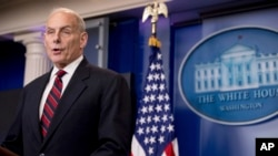 FILE - Homeland Security Secretary John Kelly talks to the media during the daily press briefing at the White House in Washington.
