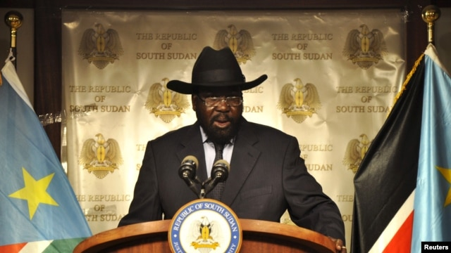 FILE - South Sudan's President Salva Kiir addresses a news conference at the Presidential palace in Juba. Ban's visit comes as opposing groups in the South Sudan peace process prepare to form a unity government.