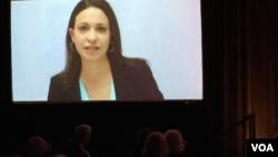 La líder opositora María Corina Machado agradeció el premio de la IFES por su lucha por la democracia en Venezuela en un mensaje en video.