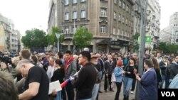 Protest u Beogradu (Foto: VOA/Aleksandra Nenadović)