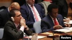 El canciller venezolano, Jorge Arreaza, volvió a denunciar la injerencia EE.UU. en la política interior del país en el Consejo de Seguridad de la ONU. Febrero 26, 2019. REUTERS/Shannon Stapleton