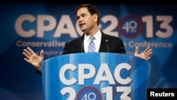 FILE - U.S. Senator Marco Rubio of Florida speaks at the Conservative Political Action Conference (CPAC) at National Harbor, Maryland, March 14, 2013.