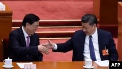 中国国家主席习近平在人大会议上与人大委员长张德江握手