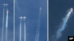 "Pesawat Antariksa Komersil Virgin Atlantic ""SpaceShip Two"" sesaat setelah diluncurkan hingga terjadinya ledakan di udara dalam penerbangan uji coba, Jumat (31/11)."