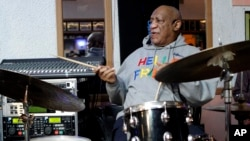 Bill Cosby plays the drums at the LaRose Jazz Club in Philadelphia, Pennsylvania, Jan. 22, 2018.