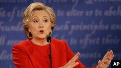 Ứng cử viên đảng Dân chủ Hillary Clinton trong cuộc tranh luận tổng thống tại Đại học Hofstra ở Hempstead, New York, ngày 26/9/2016.