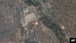 Ảnh vệ tinh cho thấy địa điểm thử nghiệm hạt nhân Punggye-ri ở Bắc Triều Tiên, ngày 18/4/2012