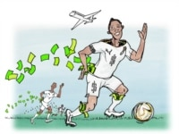Illustration of Ghanaian football players collecting their money.