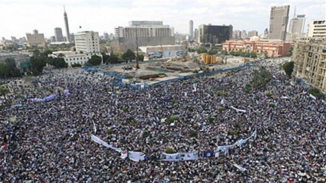 Thousands of Egyptians protest in Cairo's Tahrir Square in April.  The crowds were demanding the ouster of former President Hosni Mubarak.
