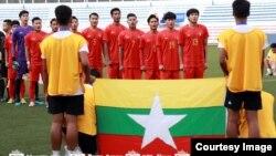 ျမန္မာ ယူ-၂၂ ေဘာလုုံး အသင္း ႏွင့္ မေလးရွားကစားစဥ္ (ဓါတ္ပံု- Myanmar Football Federation
