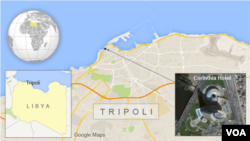 A map showing the Corinthia Hotel, Tripoli, Libya.
