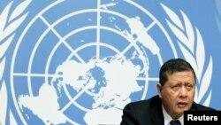 지난 16일 스위스 제네바에서 열린 유엔 인권이사회에서 마루즈끼 다르수만 유엔 북한인권특별보고관이 북한 인권 상황에 대한 기자회견을 하고 있다.