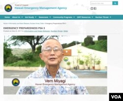 "FILE - Vern Miyagi appears in a public service announcement about the addition of a nuclear warning to the monthly ""Attention Alert"" test in Hawaii. Miyagi resigned Jan. 30, 2018, as the state's emergency management administrator."