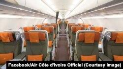 L'intérieur d'un Airbus A320 de Air Côte d'Ivoire, 16 octobre 2017. (Facebook/Air Côte d'Ivoire Officiel)
