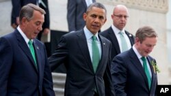 "From left, House Speaker John Boehner of Ohio, President Barack Obama and Irish Prime Minister Enda Kenny leave a ""Friends of Ireland"" luncheon on Capitol Hill in Washington, March 17, 2015."