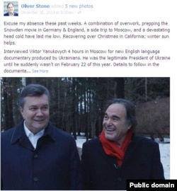 Hollywood director Oliver Stone's facebook post featuring a photo with former Ukrainian president Viktor Yanukovych, Dec. 30, 2014.