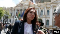 La canciller del gobierno transitorio de Bolivia, Karen Longaric, dirigió una carta a su homólogo de Argentina, el martes 14 de enero de 2020.